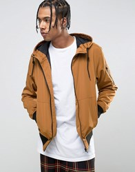 Bershka Hooded Bomber Jacket In Tan Mink