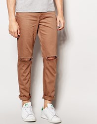 Asos Skinny Jeans With Knee Rips In Brown Pine Bark
