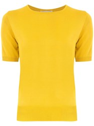Egrey Panelled Knit Blouse Yellow And Orange
