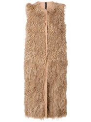 Giorgio Brato Long Shearling Vest Nude And Neutrals