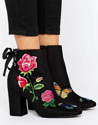 Asos Eternal Love Patchwork Ankle Boots Black Taffeta