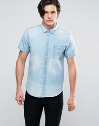 Another Influence Mid Wash Denim Shirt Blue