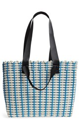 Nordstrom Stripe Woven Tote Blue Navy Blue