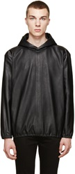 Paul Smith Black Leather Side Zip Hoodie