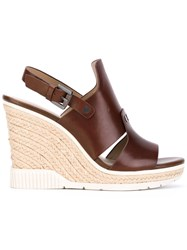 Calvin Klein Cog Wedge Sandals Women Calf Leather Leather Rubber 37 Brown