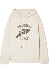 The Great Slouch Printed Cotton Blend Jersey Hoodie Cream