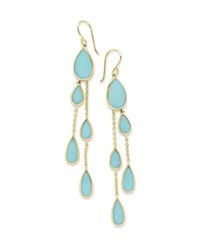 Ippolita 18K Polished Rock Candy Multi Pear 2 Chain Drop Earrings In Turquoise