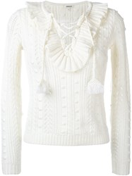 Manoush Ruffle Front Jumper White