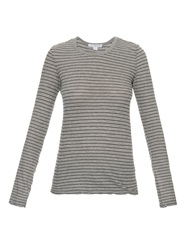 James Perse Striped Cotton Crew Neck T Shirt