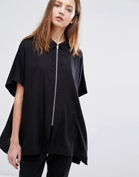 Weekday Blouse With Zip Front Black