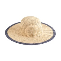 J.Crew Straw Beach Hat With Blue Trim Natural