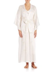 Josie Natori Embroidered Silk Robe White