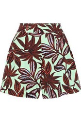 Etro Printed Stretch Cotton Twill Shorts Mint