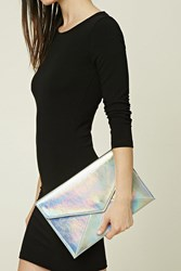 Forever 21 Holographic Envelope Clutch Silver Multi