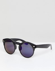 Selected Round Sunglasses With Blue Lenses Black
