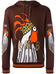 Dolce And Gabbana Sequin Print Hoodie Brown