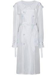 Unravel Project Silk Trench Coat White