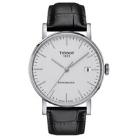 Tissot T1094071603100 Unisex Everytime Automatic Date Leather Strap Watch Black White