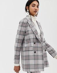 Selected Mika Double Breasted Check Blazer Grey Check