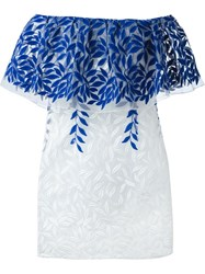 Christian Pellizzari Embroidered Off The Shoulder Dress Blue