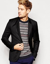 Hugo By Boss Blazer With Leather Elbow Patches Black