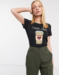 Only Kita Coffee Slogan T Shirt Black