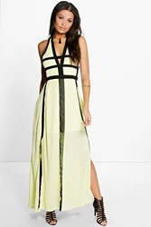 Boohoo Contrast Panel Cut Out Detail Maxi Dress Lemon