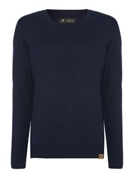 Label Lab Men's Mccaught Essential Wool Mix Crew Neck Jumper Dark Navy