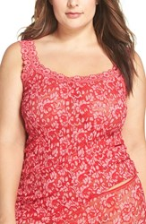 Hanky Panky Plus Size Women's Lace Camisole Red Lipgloss