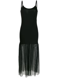 D.Exterior Tulle Panel Dress Black