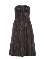 Alexander Mcqueen Strapless Pleated Leather Bustier Dress