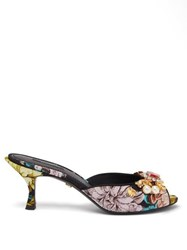 Dolce And Gabbana Floral Jacquard Embellished Mules Black Multi