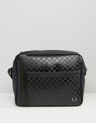 Fred Perry Checkerboard Messenger Bag In Black Black