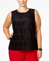 Kasper Plus Size Burnout Shell Black