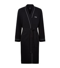 Boss Logo Cotton Robe Male Black