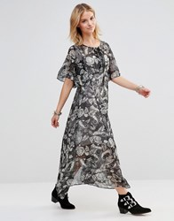 Style London Maxi Dress With Lace Up Top In Paisley Print Black
