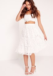 Missguided Crochet Lace Full Midi Skirt White White