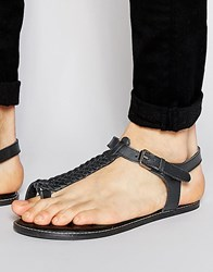 Asos Thong Sandals In Woven Black Leather Black