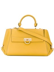 Salvatore Ferragamo Classic Tote Women Calf Leather One Size Yellow Orange