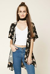 Forever 21 High Low Floral Print Kimono