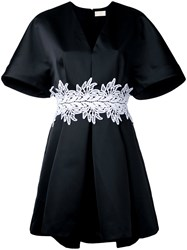 Sara Battaglia Embroidered Belt Dress Black