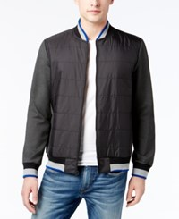 Kenneth Cole New York Men's Mixed Media Bomber Jacket Charcoal Heather