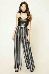 Forever 21 Striped Palazzo Pants Black White