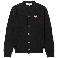 Comme Des Garcons Play Red Heart Cardigan Black