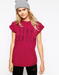 Asos Boyfriend T Shirt With Stay Classy Print Red