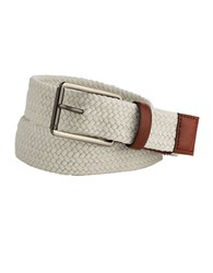 Perry Ellis Woven Leather Trim Belt White