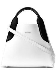 Lanvin Mini Cabas Tote Bag Leather White