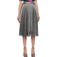 Christopher Kane Silver Pleated Lame Mesh Skirt