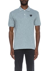 Comme Des Garcons Play Cotton Polo With Black Emblem In Gray