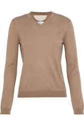 Red Valentino Point D'esprit Paneled Cashmere And Silk Blend Sweater Camel